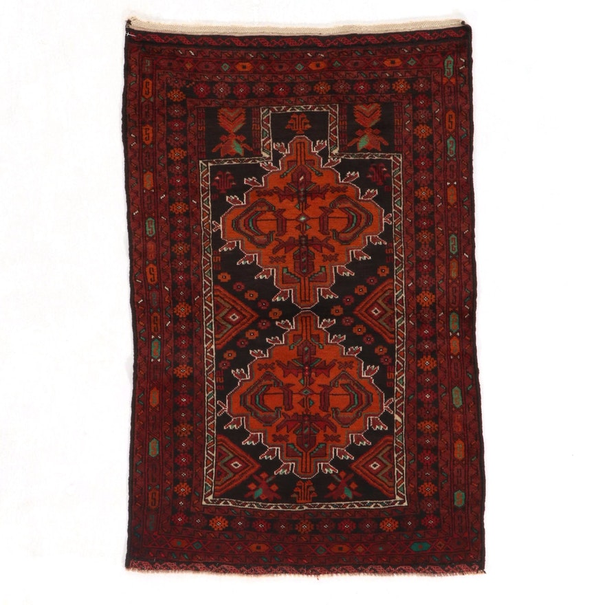 2'9 x 4'5 Hand-Knotted Afghan Baluch Prayer Rug