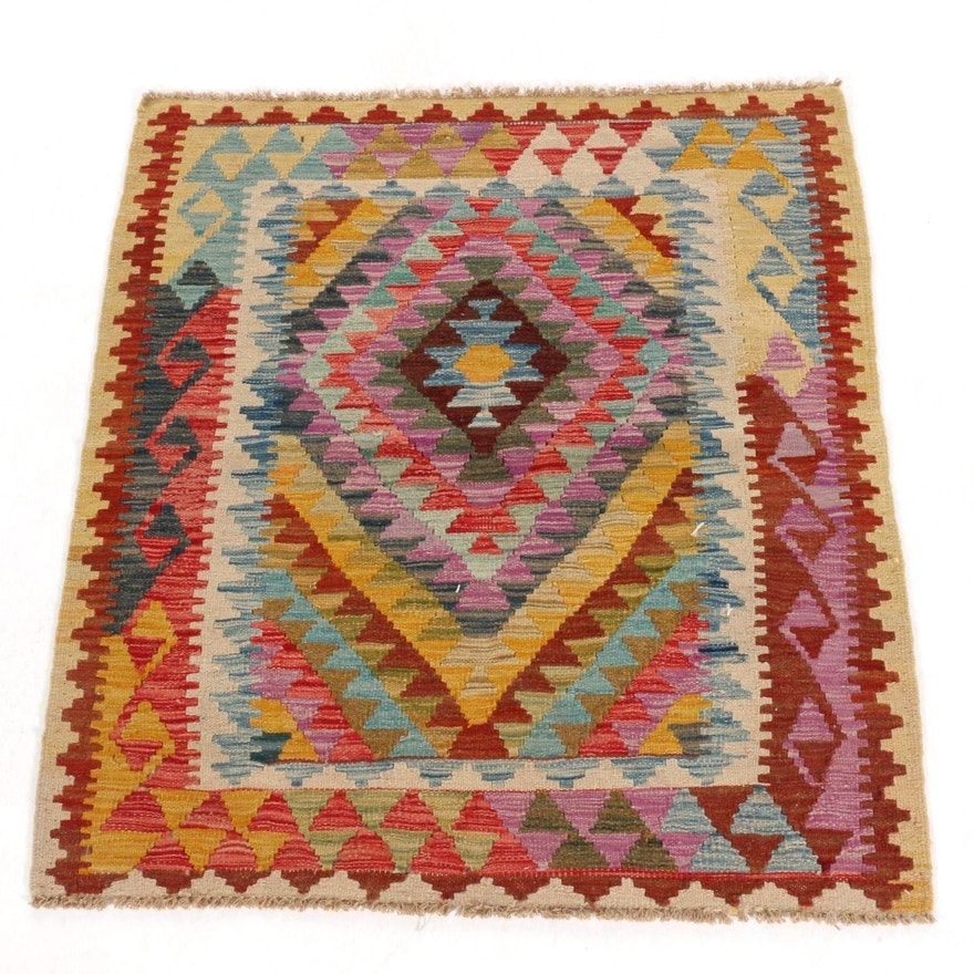 3'3 x 3'8 Handwoven Afghan Kilim Accent Rug