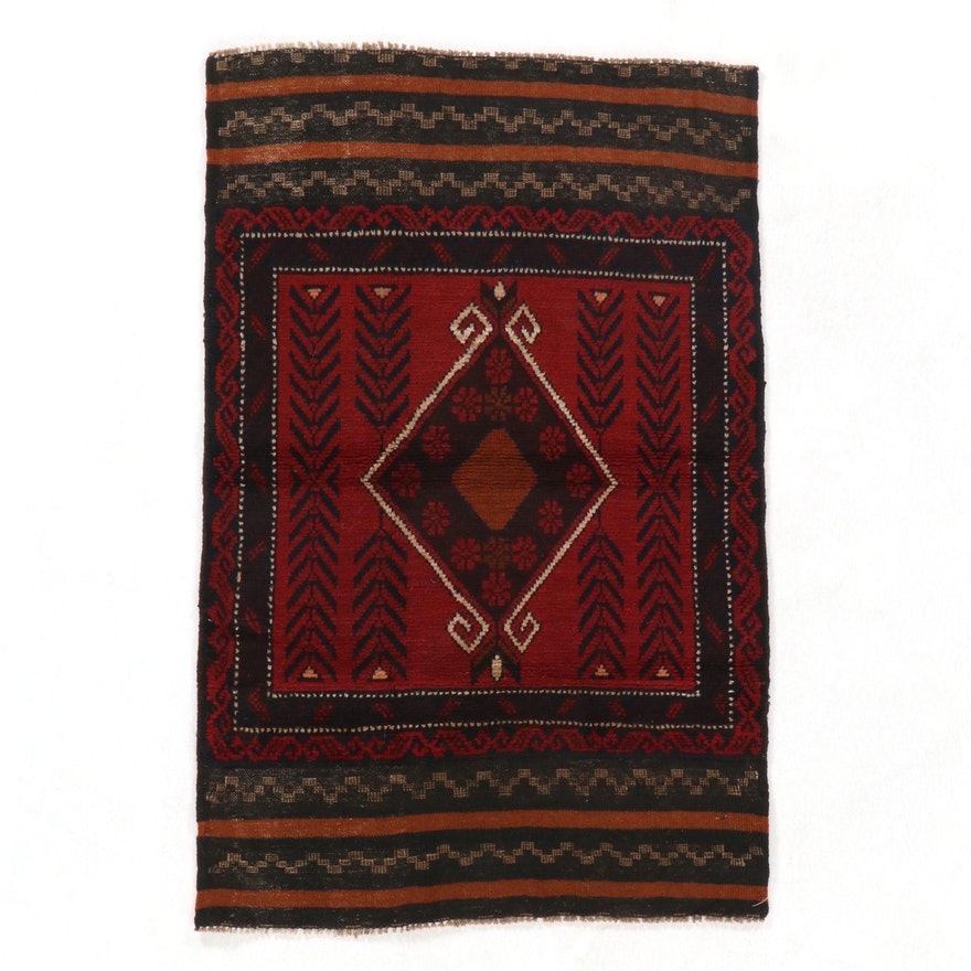 2'11 x 4'5 Hand-Knotted Afghan Baluch Accent Rug