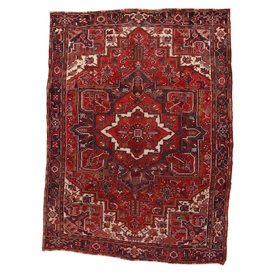 8'7 x 11'8 Hand-Knotted Persian Heriz Room Size Rug, 1950s