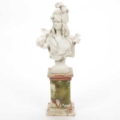 Art Nouveau Style Resin Bust on Marble Plinth