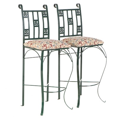 Pair of Four-Leaf Clover Patterned Iron Barstools
