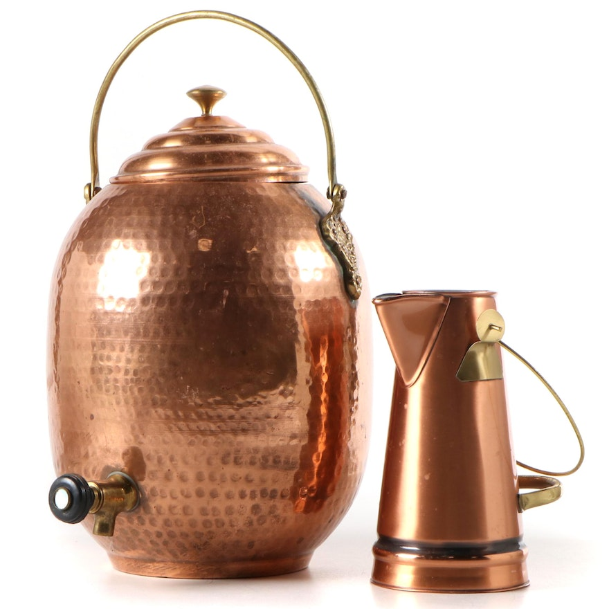 Gregorian Copper Pitcher and Hammered Copper Beverage Dispenser, Late 20th C.
