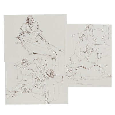 John Tuska Figural Nude Ink Drawings, Late 20th Century