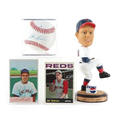 Joe Nuxhall Signed Rawlings Baseball, Cards, and Bobblehead Doll