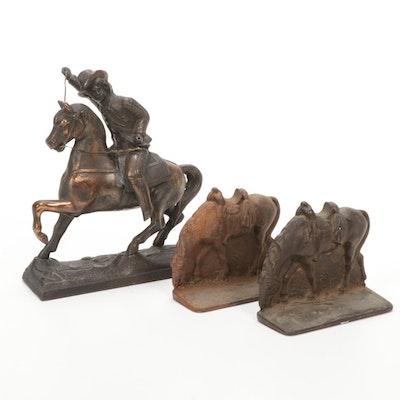 Buffalo Bill Bronzed Spelter Clock Topper with Cast Iron Horse Bookends