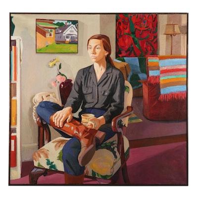 "Stephen Hankin Oil Painting ""The Visit - Portrait of Diane,"" 1981"