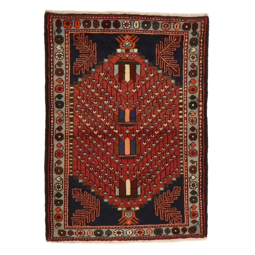 2'10 x 4' Hand-Knotted Northwest Persian Rug, 1980s