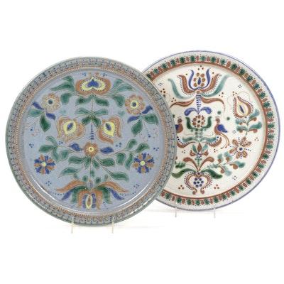 Pennsylvania Dutch Style Folk Art Stoneware Pear Tree Platters, Late 20th C.