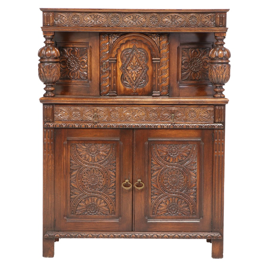 Jacobean Style Carved Oak Court Cupboard, Early 20th Century
