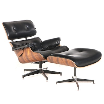 Charles and Ray Eames Style Laminated Wood and Leather Lounge Chair and Ottoman