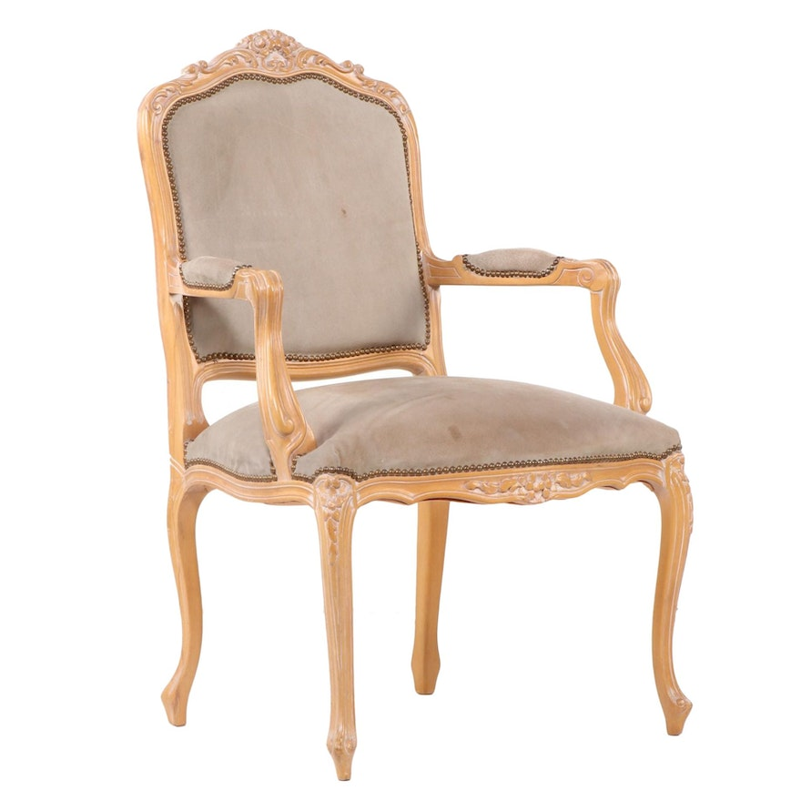 Louis XV Style Beech and Brass-Tacked Suede Fauteuil
