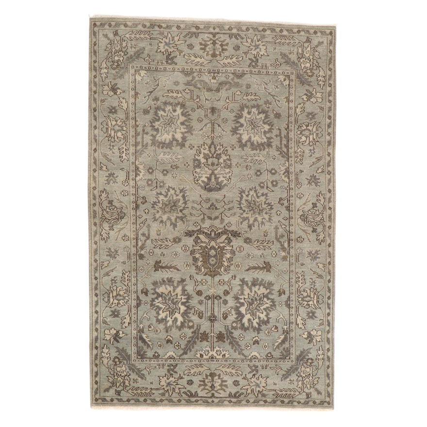 5'9 x 9'2 Hand-Knotted Indo-Turkish Oushak Rug, 2010s