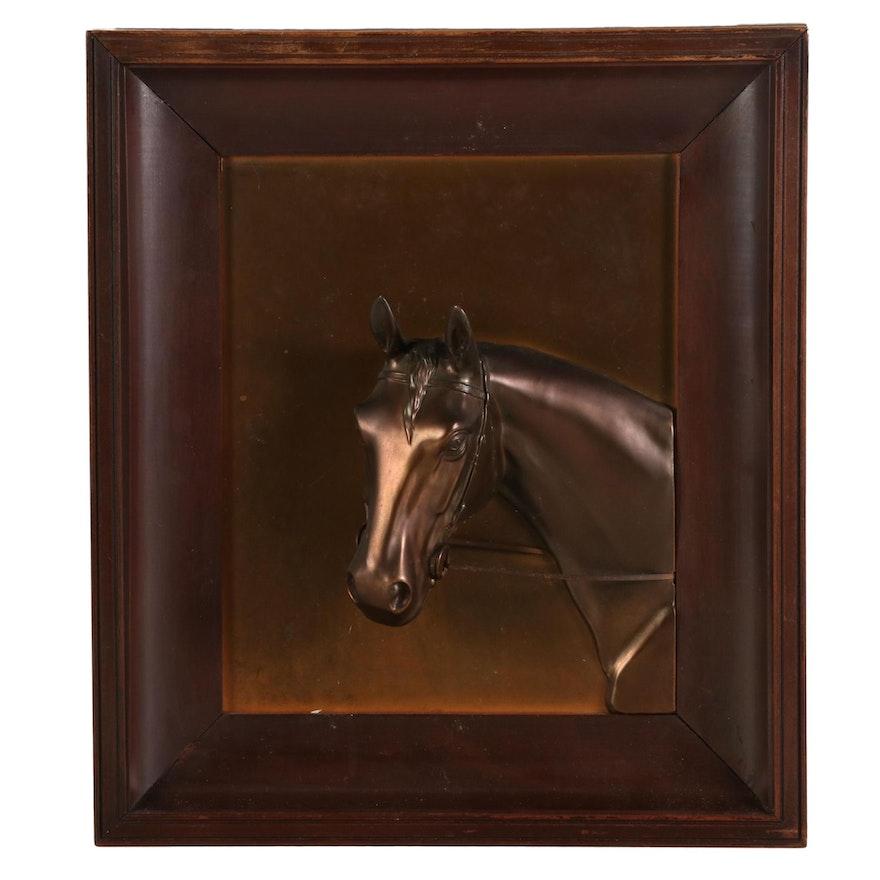 Bronze-Toned Cast Metal Relief Horse Sculpture