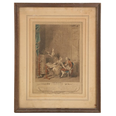 "Charles Louis Lingee Hand-Colored Etching ""L'Occupation"""