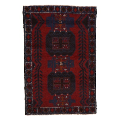 2'9 x 4'2 Hand-Knotted Afghan Baluch Rug, 2000s