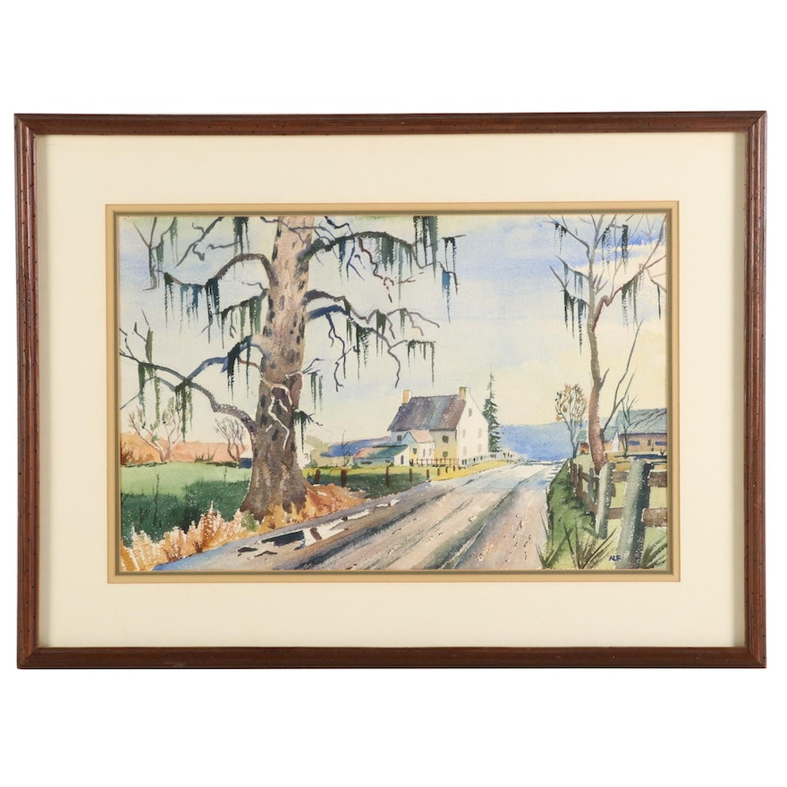 Watercolor Painting of Country Road Landscape