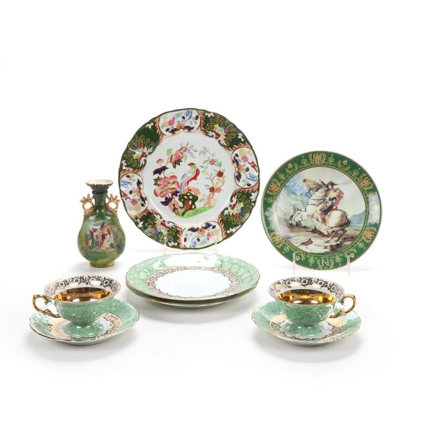 Wawel Poland Porcelain Dinnerware, Mason's Ironstone Plate and Carlsbad Vase