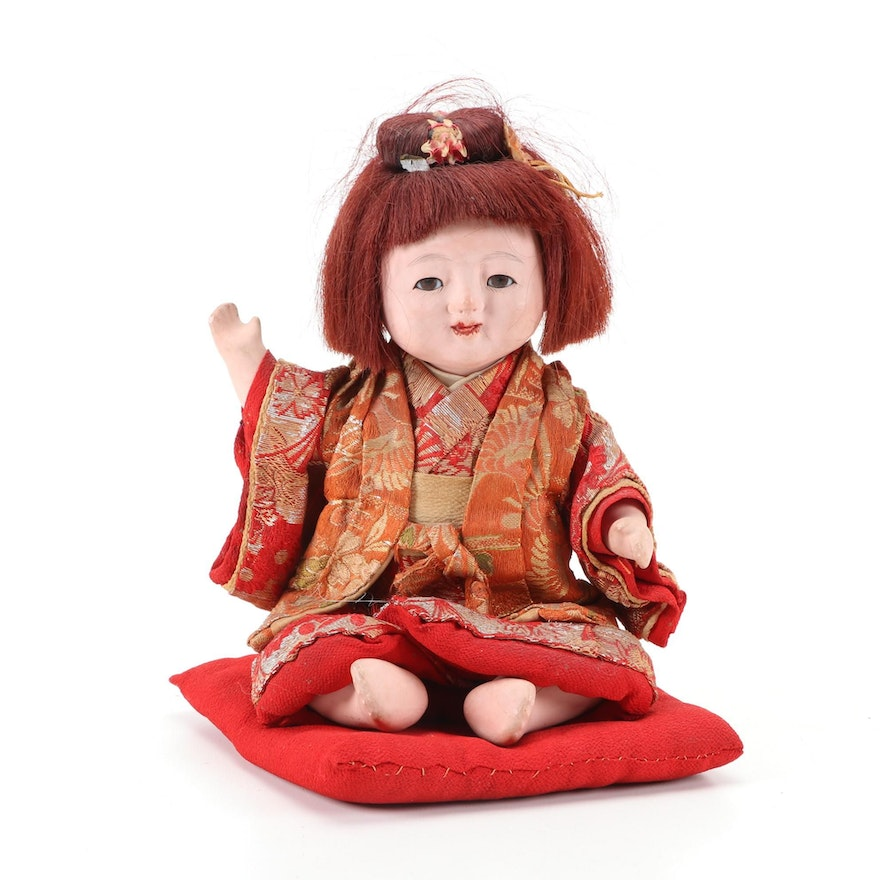 Japanese Composition Doll Wearing Kimono with Glass Eyes, Mid-20th Century