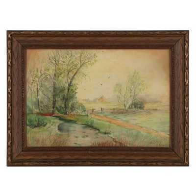 Landscape Watercolor Painting with Creek, 1902