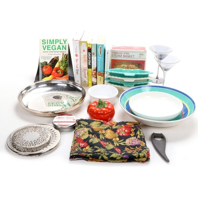 Hoenig of California Serving Tray with Bowls, Stemware and Cookbooks and More