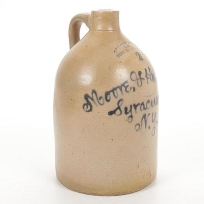 Ottoman Bro's & Co. Moore & Hubbard 2 Gallon Stoneware Crock