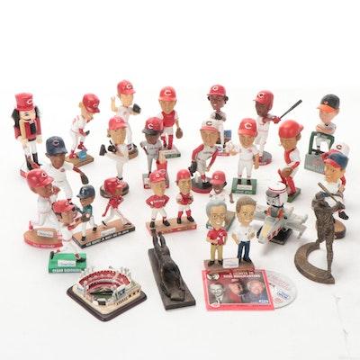 Cincinnati Reds Memorabilia Including Bobbleheads, CD, Statues, Stadium Replica
