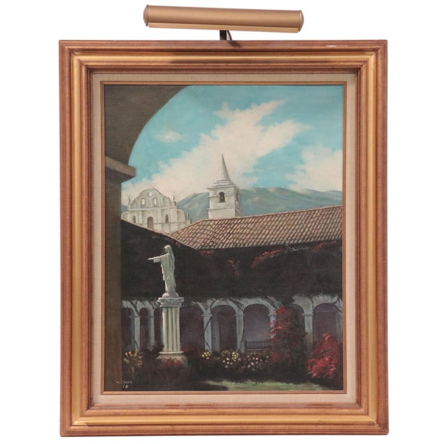 Oil Painting of Monastery Courtyard, 1978