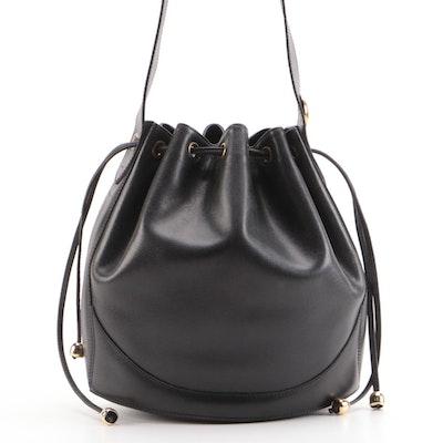 Christian Dior Black Cross Grain Leather Bucket Bag