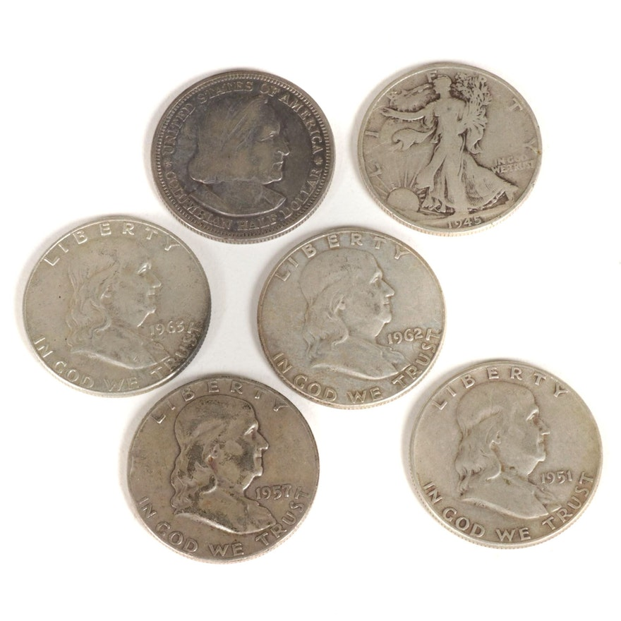 Six United States Silver Half Dollars