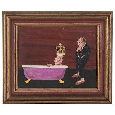 Satirical Acrylic Painting of Lyndon B. Johnson, 1970