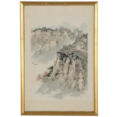 East Asian Landscape Lithograph of Great Wall of China
