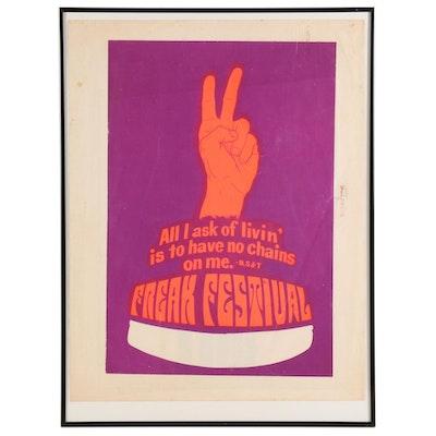 """University of Tennessee Knoxville """"Freak Festival"""" Silkscreen Poster, 1970"""