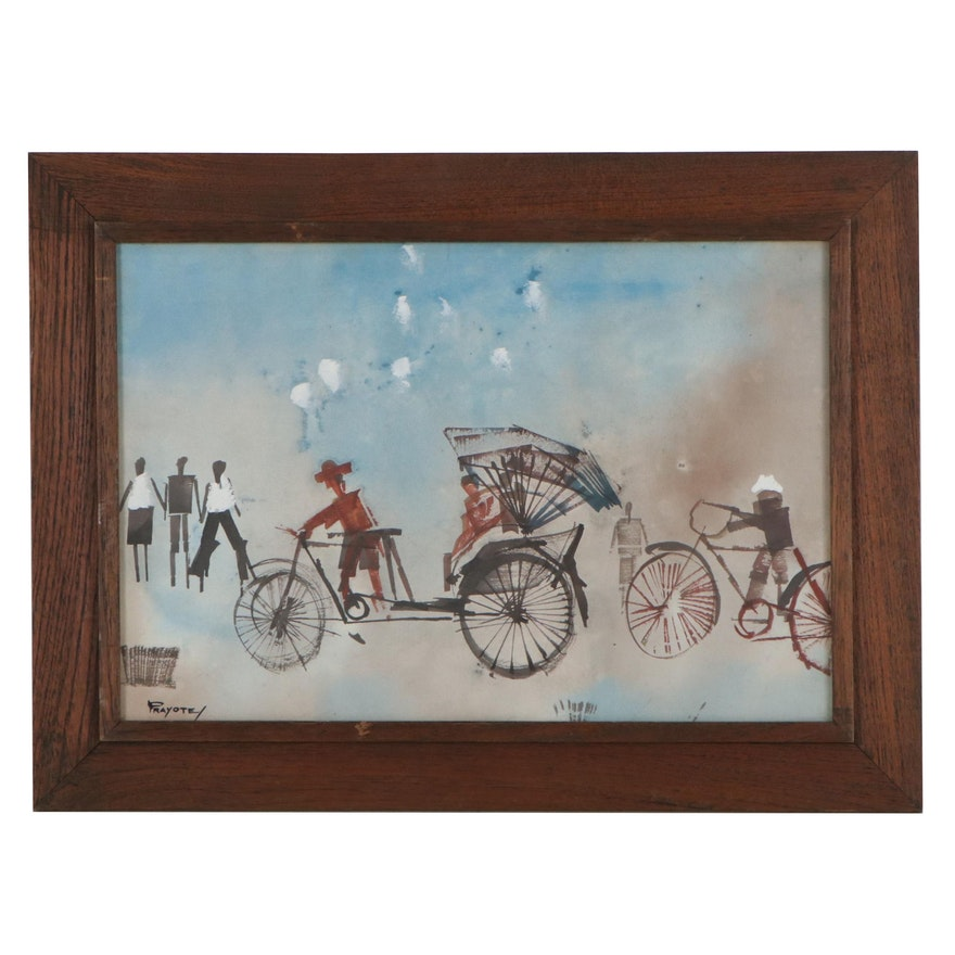Abstract Figural Embellished Watercolor Painting, Mid-20th Century