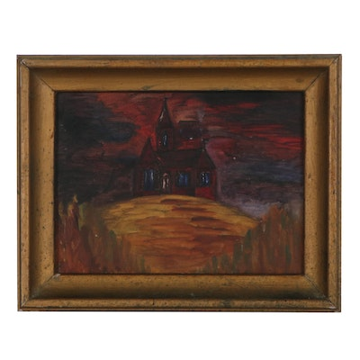 Nocturnal Oil Painting of a House on Hill, Late 20th Century