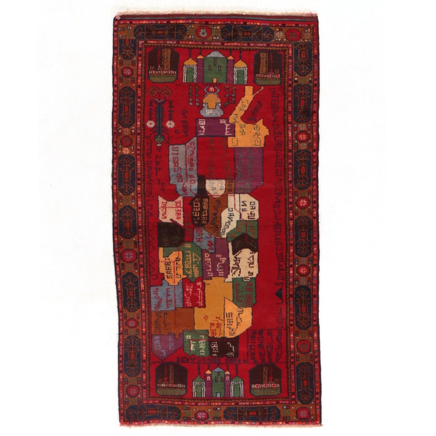 3'4 x 6'10 Hand-Knotted Afghan Baluch Pictorial Area Rug