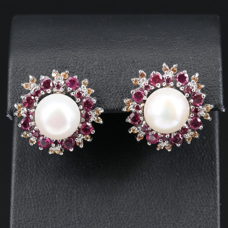 Sterling Pearl, Rhodolite Garnet and Sapphire Button Earrings