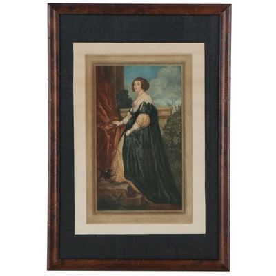 "Mezzotint after Anthony van Dyck ""Béatrice de Cusance"""