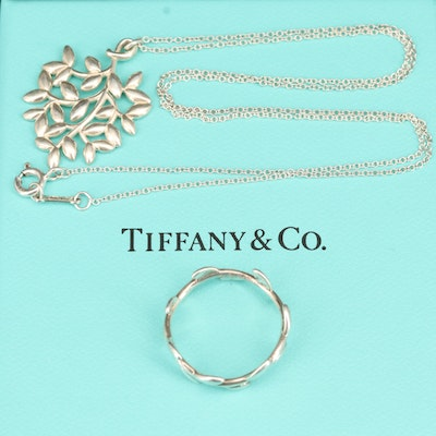 "Paloma Picasso for Tiffany & Co. ""Olive Leaf"" Sterling Band and Necklace"