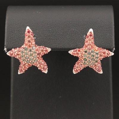 Sterling Sapphire Starfish Style Earrings