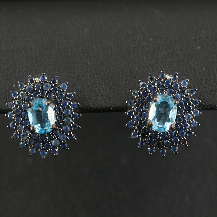 Sterling Topaz and Sapphire Button Earrings