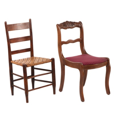 Empire Style Walnut Side Chair with Woven Seat Ladder Back Chair
