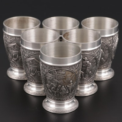 Zinn-Becker German Pewter Shot Glasses with Relief Scenes