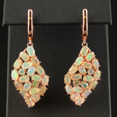 Sterling Opal Cluster Dangle Earrings
