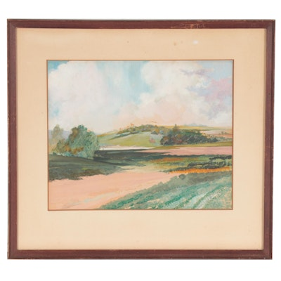 Landscape Gouache Painting of Rolling Hills, 1936