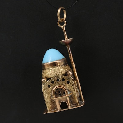Vintage 14K Mosque Pendant with Turquoise Roof Accent