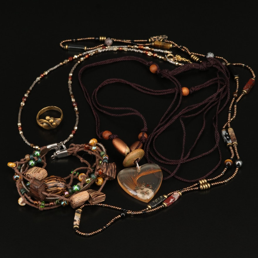 Necklaces, Bracelet and Ring Featuring Tiger's Eye, Jasper and Wood