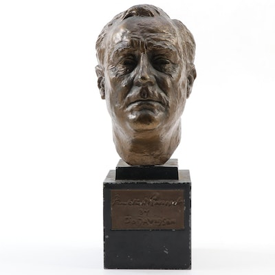 "Spelter Sculpture after Jo Davidson ""Franklin Delano Roosevelt"""