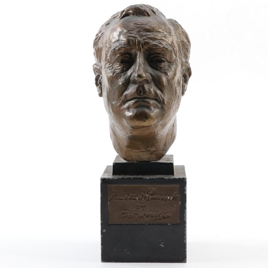 """Spelter Sculpture after Jo Davidson """"Franklin Delano Roosevelt"""""""