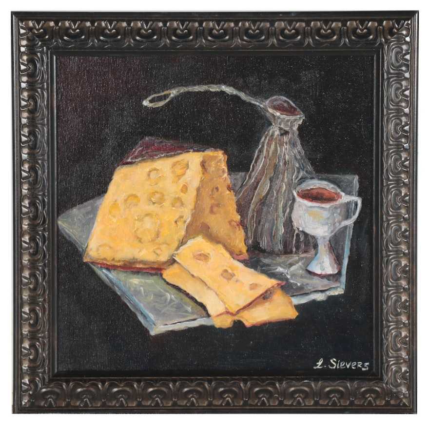 """Larissa Sievers Oil Painting """"Coffee with Cheese,"""" 2021"""